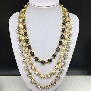 Ann Taylor Pearl Clear & Gray Rhinestone Necklace